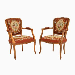 Antique French Tapestry Salon Armchairs, Set of 2