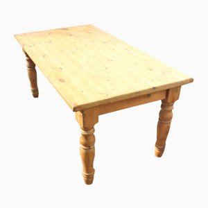 Country Pine Dining Table with Turned Legs, 1940s