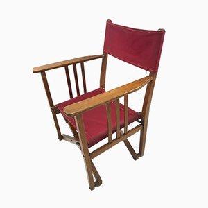 Director plegable vintage de roble y lona, jardín o silla Safari, años 50
