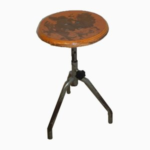 Italian Iron and Wood Stool, 1950s