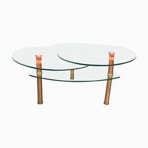 Vintage Adjustable Glass & Metal Coffee Table, 1980s
