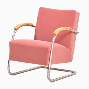 Vintage Rose Mohair Cantilever Lounge Chair from Mücke Melder
