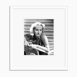 Carole Lombard Smiling Sweetly Archival Pigment Print Framed in White by Everett Collection