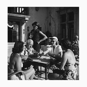 Four for Canasta Silver Fibre Gelatin Print Framed in Black by Slim Aarons