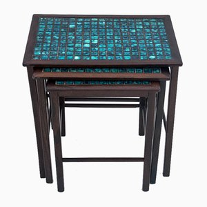 Tavolini da caffè in palissandro con mattonelle decorative, anni '60, set di 3