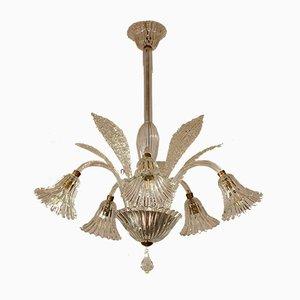 Lámpara de araña de cristal de Murano de 5 luces con vidrio de efecto Rigadin de Ercole Barovier para Barovier & Toso, años 30