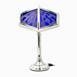 Grande Lampe de Bureau Art Déco Style Orientaliste en Verre de Pirouette, France, 1930s