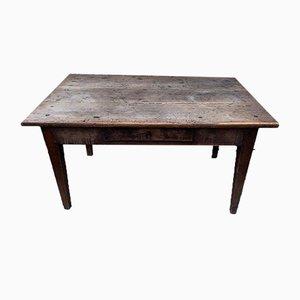 Vintage Solid Oak Farm Desk Table with Drawer