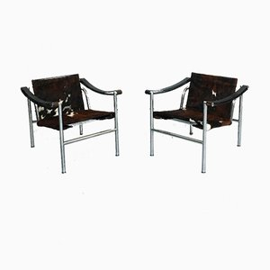 Mid-Century LC1 Lounge Chairs by Le Corbusier for Cassina, 1929, Set of 2