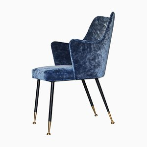 Mid-Century Blue Velvet Lounge Chair