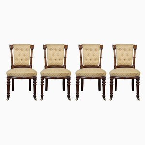 Antique Scottish Walnut Dining Chairs, Set of 4