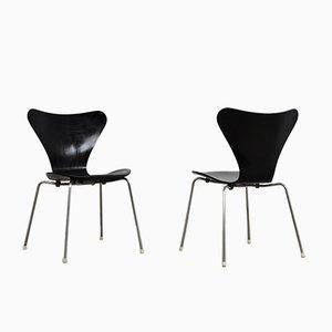 Chaises d'Appoint 3107 Mid-Century par Arne Jacobsen pour Fritz Hansen, Set de 2