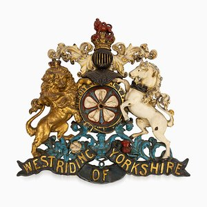 19th Century Victorian Cast Iron West Riding of Yorkshire Coat of Arms, 1880s