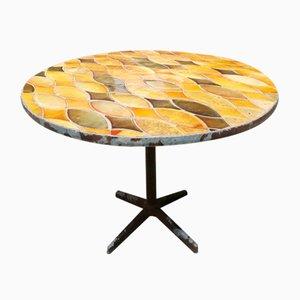 Französischer Runder Mid-Century Tisch mit Vallauris Keramik & Metall Gestell