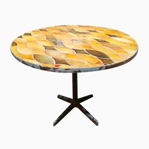French Mid-Century Round Table with Vallauris Ceramic and Metal Base