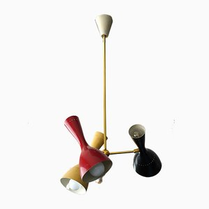 Italian Brass and Lacquered Aluminium Ceiling Lamp from Stilnovo, 1950s