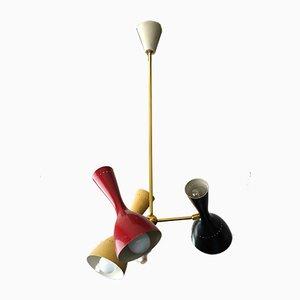 Italienische Deckenlampe aus Messing & Lackiertem Aluminium von Stilnovo, 1950er