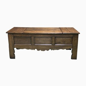 19th Century Breton Chest Bench in Chestnut Wood