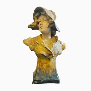Art Nouveau Bust of a Young Maiden from Friedrich Goldscheider