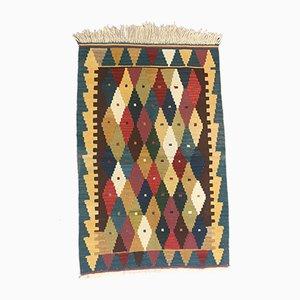 Vintage Turkish Red, Beige & Blue Wool Kilim Rug, 1960s