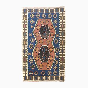 Vintage Turkish Blue, Pink & Brown Wool Kilim Rug, 1960s