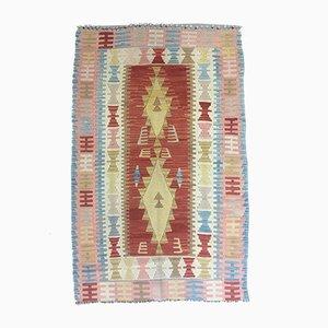 Vintage Turkish Pink, Yellow & Red Wool Tribal Kilim Rug, 1960s