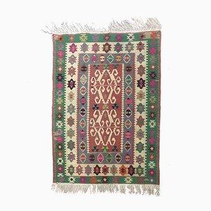 Vintage Turkish Red, Green, Blue & Beige Wool Tribal Kilim Rug, 1960s