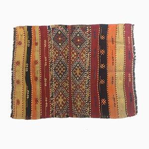 Vintage Turkish Green, Red & Black Wool Tribal Kilim Rug, 1960s