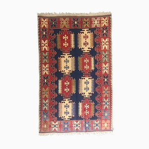 Vintage Turkish Blue, Red & Beige Wool Tribal Kilim Rug, 1960s