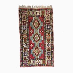 Vintage Turkish Blue, Red, Black & Beige Wool Tribal Kilim Rug, 1960s