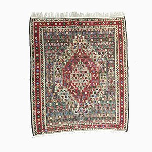 Vintage Red, Pink & Blue Square Tribal Kilim Rug, 1960s