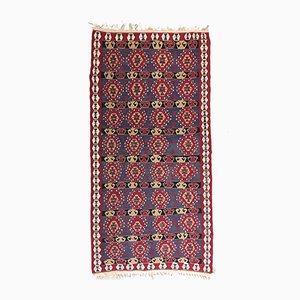 Vintage Red, Pink & Blue Square Tribal Kilim Rug, 1960s