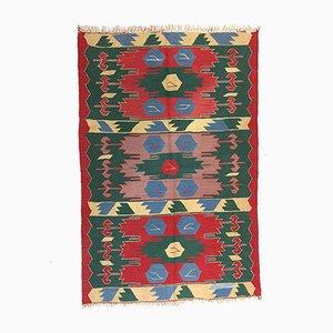 Vintage Turkish Red, Green & Blue Wool Kilim Rug, 1960s