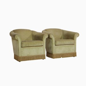 Mohair Club Chairs with Fringes, Set of 2