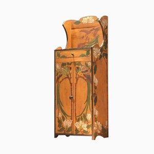 Wooden Pyrographed Art Nouveau Cabinet
