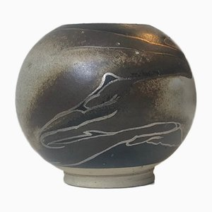Ceramic Danish Ball Vase with Abstract Decor by Peter Sylvest, 1970s