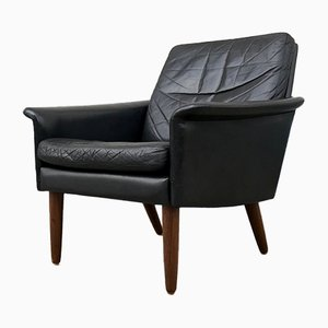 Danish Modern Black Leather Lounge Chair by Hans Olsen for CS Mobelfabrik, 1960s