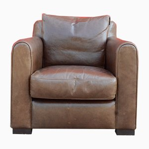 Vintage Italian Grizzly Brown Leather Club Chair from Giovanni SFORZA Collection, 1980s