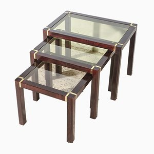 Wooden Triptych Coffee Tables with Glass Top, 1980s, Set of 3