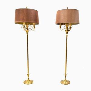 Lámparas de pie en forma de gavilla de trigo de latón, 1978. Juego de 2