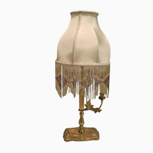 Brass Table Lamp with Silk Beaded Fringe Shade