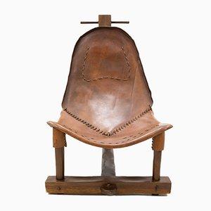 Brasilianischer T-Stuhl aus Leder in Hammam-Optik, 1978