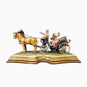Chariot Cheval par Bruno Merli pour Capodimonte, 1964