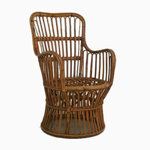 Mid-Century Modern Bamboo & Wicker Lounge Chair, 1950s
