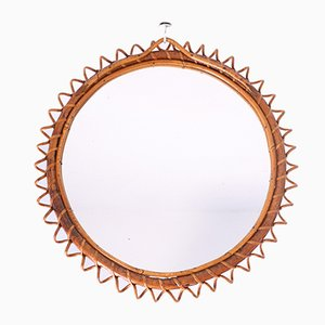 Mid-Century Round Wicker Mirror