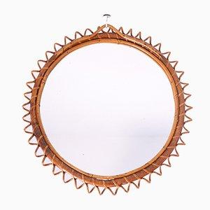 Mid-Century Round Wicker Mirror