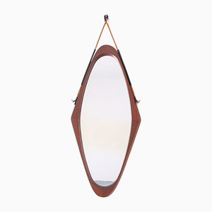 Mid-Century Teak, Rope, & Imitation Leather Mirror