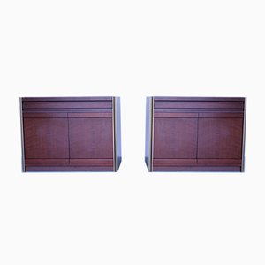 Mid-Century Tanganyika Walnut and Brass Detail Cabinets by Luciano Frigerio, Set of 2