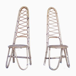 Mid-Century Wicker Chairs, Set of 2