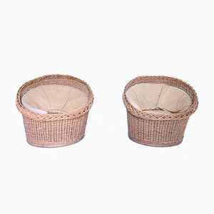 Mid-Century Wicker Lounge Chairs with Straw Cushions, Set of 2